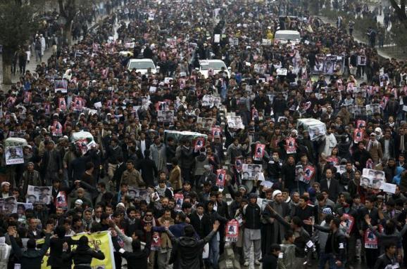 марш протеста хазарейцев в Кабуле Афганистан