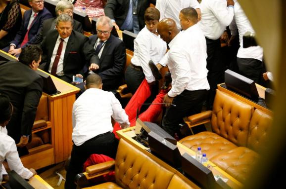 драка парламент ЮАР