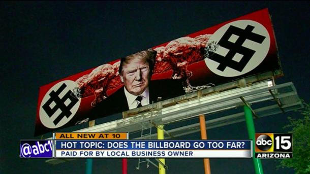В США появился билборд с изображением Трампа-нациста