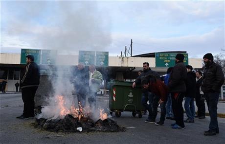 Греция драка полиция протест