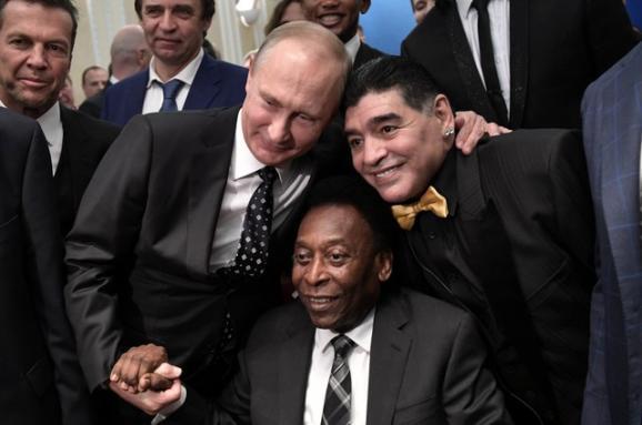 Жеребьевка ЧМ-2018. Как Пеле, Марадона и другие звезды футбола оказались в клубе поклонников Путина