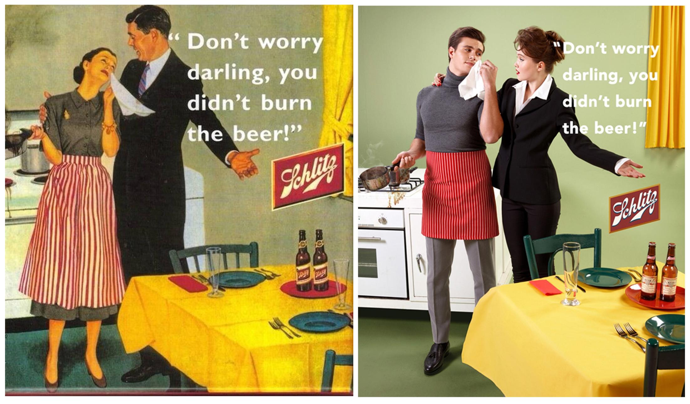 """""""Покажіть йому, що це жіночий світ"""": Фотограф перезняв сексистську рекламу 50-х років"""