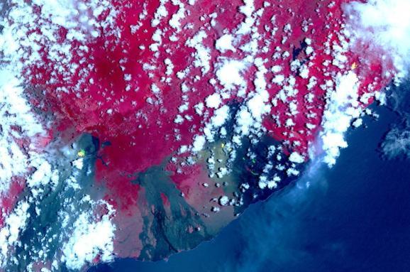 NASA опублікувало супутникові фото виверження вулкану наГаваях