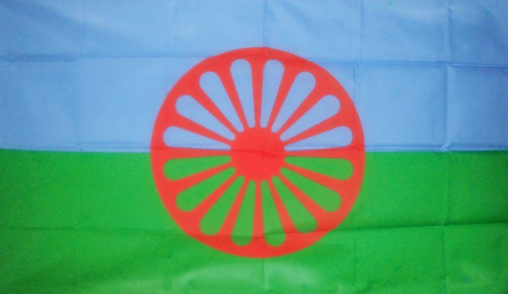 Етнічний прапор ромів, затверджений у 1971 році на І Всесвітньому конгресі циган у Лондоні