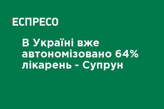 В Україні вже автономізовано 64% лікарень — Супрун — новини Еспресо TV