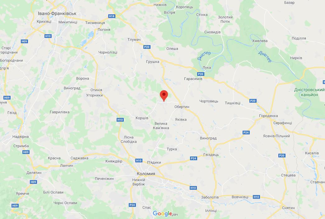 Розташування села Жуків Тлумацького району