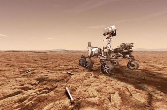 ілюстративне зображення Perseverance на тлі марсіанських краєвидів